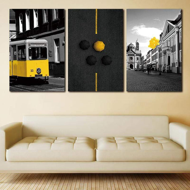 3 Panels of Vintage Black and Yellow Nordic Street View Printed on Canvas Poster Canvas