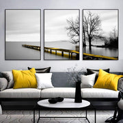 3 Piece Scenery Of Lake With Bridge And Tree Canvas Print Canvas