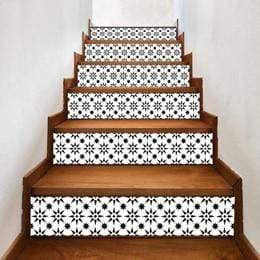 3D Black and White Graphic Patterned Stair Decals 6pcs DIY Waterproof Mural Stickers of 7x40inches 3D Stickers