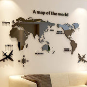 3D World Map Acrylic Wall Decor 3D Stickers
