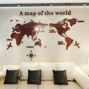 "3D World Map Acrylic Wall Decor Coffee / XXL  110""x56"" 3D Stickers"