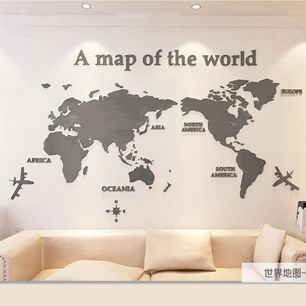 "3D World Map Acrylic Wall Decor Gray / XXL  110""x56"" 3D Stickers"