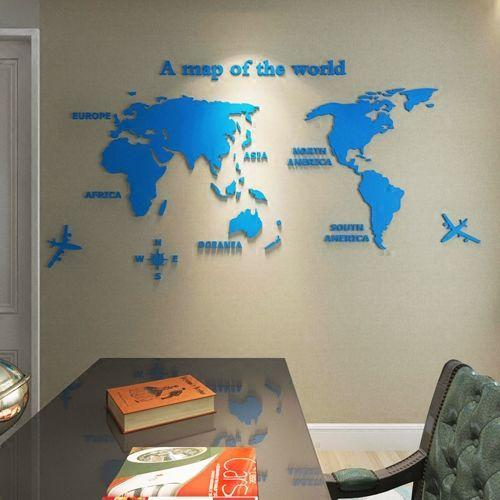 "3D World Map Acrylic Wall Decor Light blue / XXL  110""x56"" 3D Stickers"