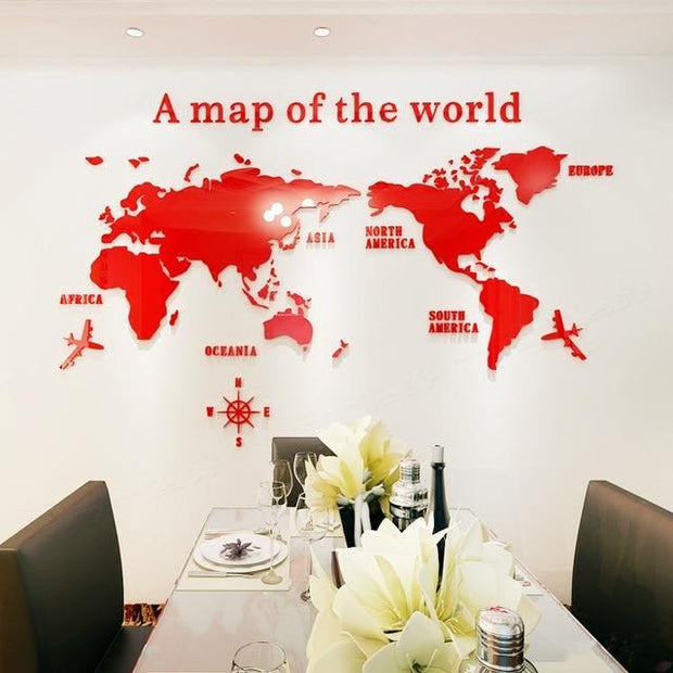 "3D World Map Acrylic Wall Decor Red / XL  90""x48"" 3D Stickers"