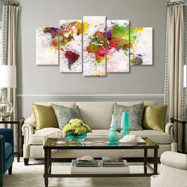 5 Piece Watercolor World Map On Canvas canvas