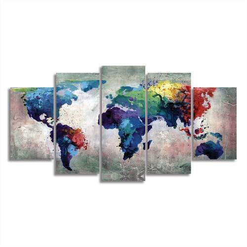 "5 Piece Watercolor World Map On Canvas 4""x6""(2), 4""x8""(2), 4""x10""(1) / Unframed / Blue canvas"