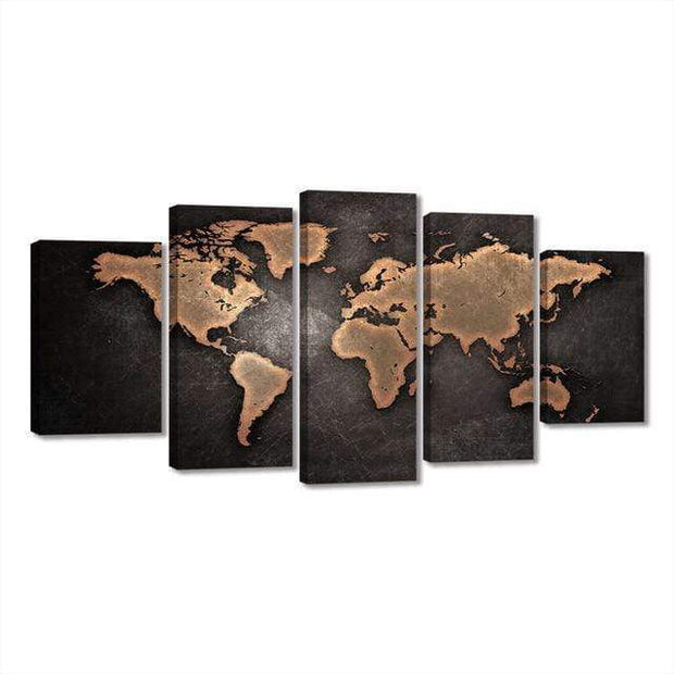 "5 Piece Watercolor World Map On Canvas 4""x6""(2), 4""x8""(2), 4""x10""(1) / Unframed / Bronz canvas"