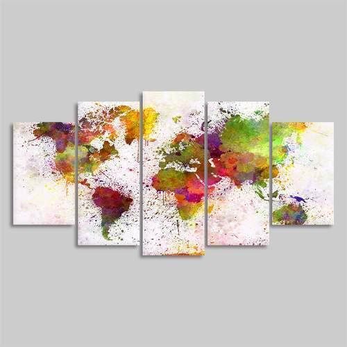 "5 Piece Watercolor World Map On Canvas 4""x6""(2), 4""x8""(2), 4""x10""(1) / Unframed / Red canvas"