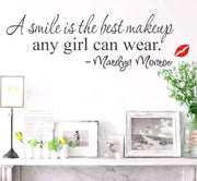 "A Smile is the Best Makeup - Famous Marilyn Monroe Quote 24""x8"" Wall Sticker"