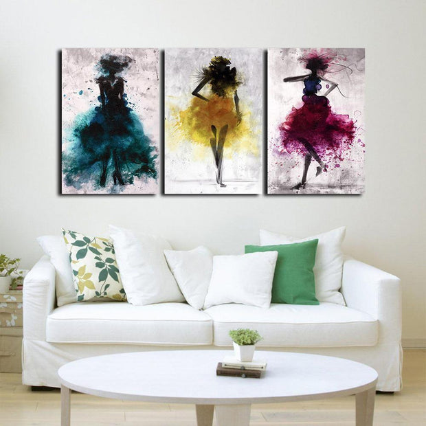 Abstract Dancers 3 Pieces Canvas Art canvas