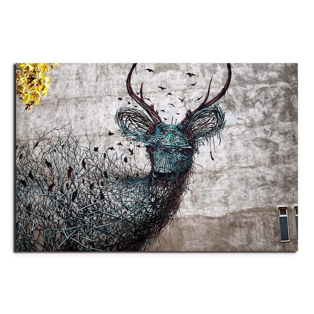 Abstract Deer Emerging From Branches Canvas Print canvas