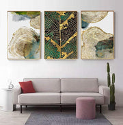 Abstract Golden Leaf Veins and Tree Circle Canvas Print Canvas