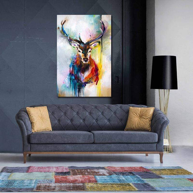 Abstract Multicolor Deer Canvas Art canvas
