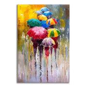 Abstract Painting of Multicolor Umbrellas On Canvas canvas