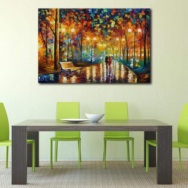 Abstract Rainy Evening Walk Canvas Print Canvas