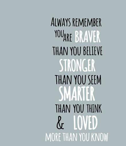 "Always Remember You Are Braver Than You Believe Wall Sticker black and white / 16.5""x31"" Wall Sticker"