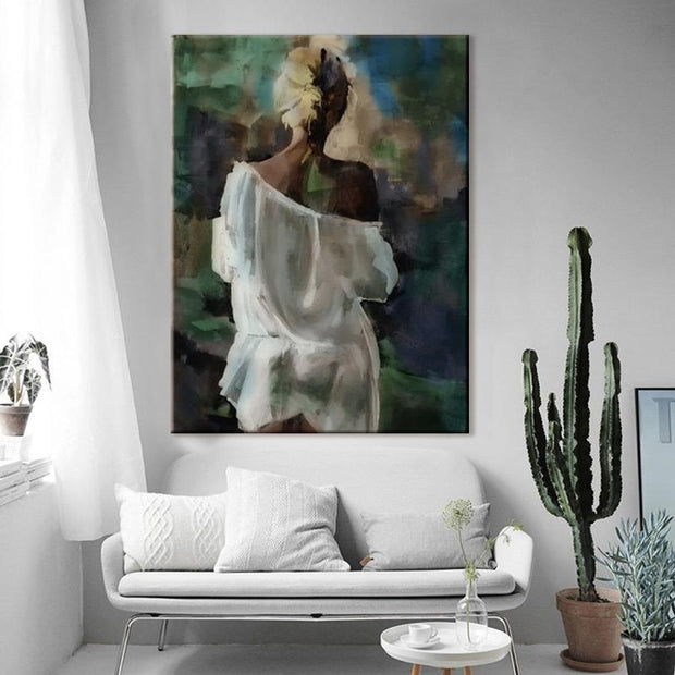 Back view of a Woman in Loose White Shirt Oil Painting Canvas Oil Painting