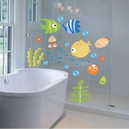 "Bathtime Fun with Tropical Fish 12""x20"" Wall Sticker"