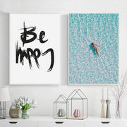 Be Happy Motivational Quote Canvas Poster