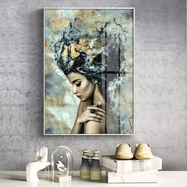 "Beautiful Abstract Canvas Poster of a Girl For Wall Decor 6""x8"" Canvas"