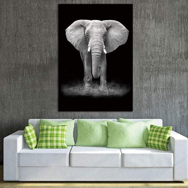 "Black and White Wild Animal Photos on Canvas Elephant / 8""x12"" Canvas"