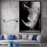 "Black and White Wild Animal Photos on Canvas Rhino / 8""x12"" Canvas"