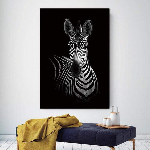 "Black and White Wild Animal Photos on Canvas Zebra Full / 8""x12"" Canvas"