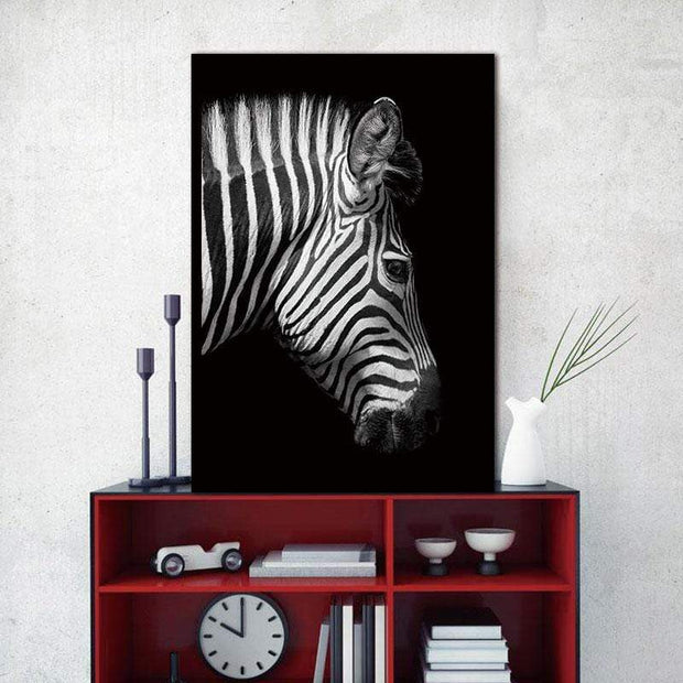"Black and White Wild Animal Photos on Canvas Zebra Side Face / 8""x12"" Canvas"