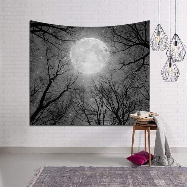 Black & White Full Moon with Winter Trees Tapestry Tapestry