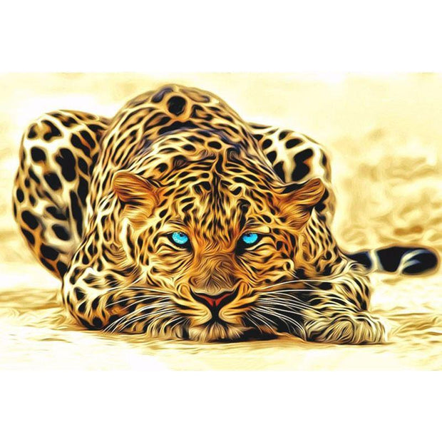 Blue Eye Leopard DIY Painting By Numbers DIY