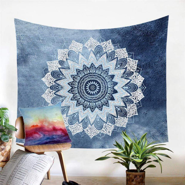 Blue Floral Mandala Tapestry Tapestry