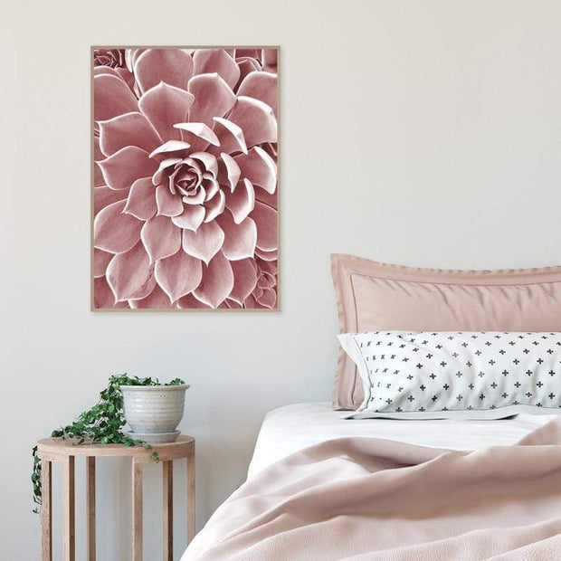Blush Color Succulent Flower Nordic Style Canvas Poster Canvas