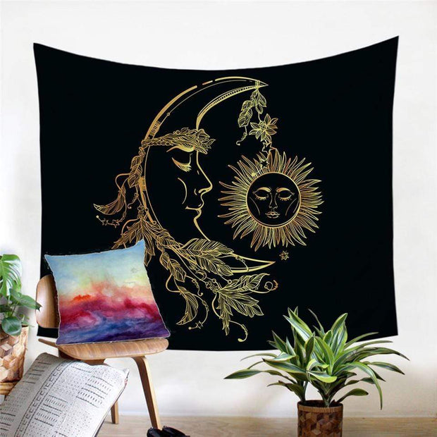 Bohemian Gold Moon Accompanies Sun Tapestry Tapestry