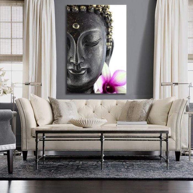 "Buddha Flower Canvas Print Buddha with Flower / 12""X18"" / Unframed Canvas"