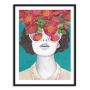 Canvas Print of A Girl Face with Flowers Canvas