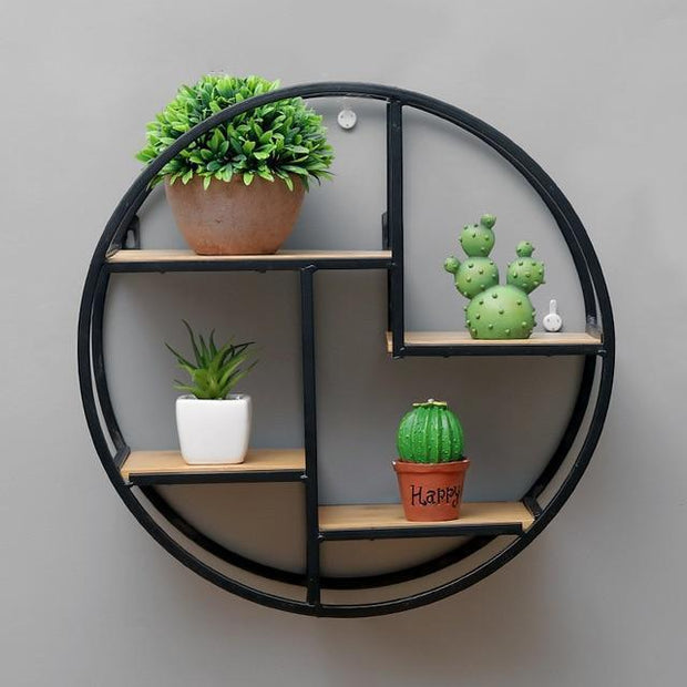 "Circular Wooden & Metal Hanging Shelf 15""x15""x6"" Accessories"