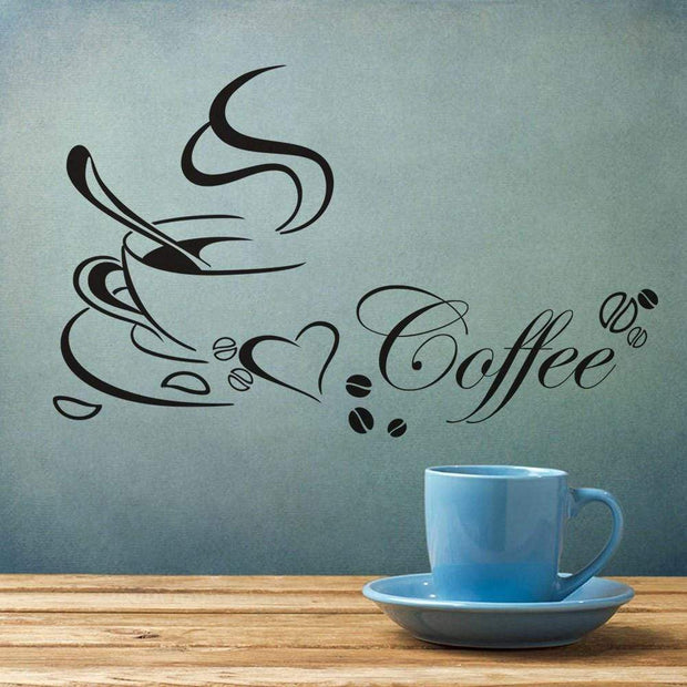"Coffee Cup Wall Sticker For Cafe Wall Decor 26""x16"" Wall Sticker"