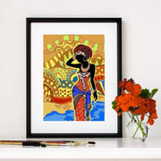Colorful African Art Canvas Print of a Black Woman Canvas