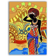 "Colorful African Art Canvas Print of a Black Woman 6""x8"" / Style A Canvas"