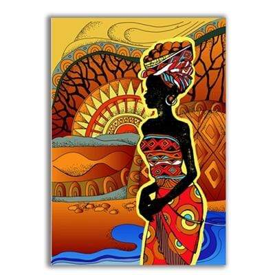 "Colorful African Art Canvas Print of a Black Woman 6""x8"" / Style B Canvas"