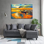 "Colorful Boat Canvas Prints Boat by Dock / 18""x12"" / Unframed Canvas"