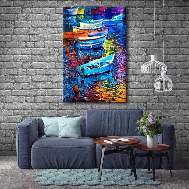 "Colorful Boat Canvas Prints Boats / 18""x12"" / Unframed Canvas"