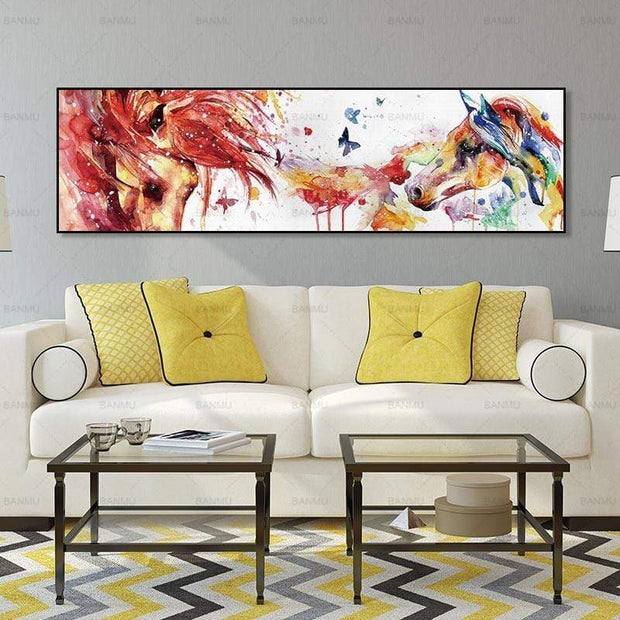 Colorful Horses and Butterflies Printed on Canvas Poster Canvas