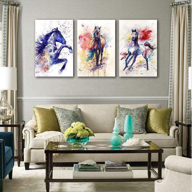 Colorful Horses Wall Artwork On Canvas canvas