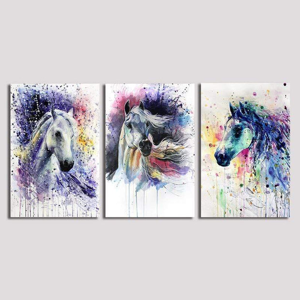 "Colorful Horses Wall Artwork On Canvas Style 1 / 12""x8"" / Unframed canvas"