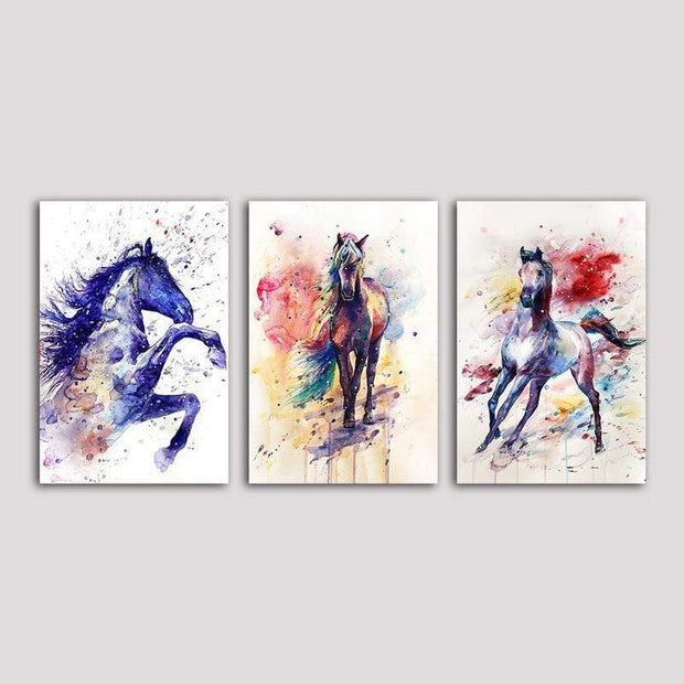 "Colorful Horses Wall Artwork On Canvas Style 2 / 12""x8"" / Unframed canvas"