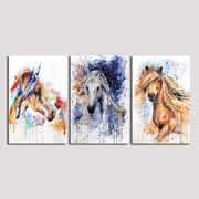 "Colorful Horses Wall Artwork On Canvas Style 3 / 12""x8"" / Unframed canvas"