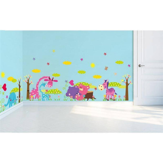Colorful Wall Stickers with Giraffe, Zebra, Elephant or Bear Wall Sticker