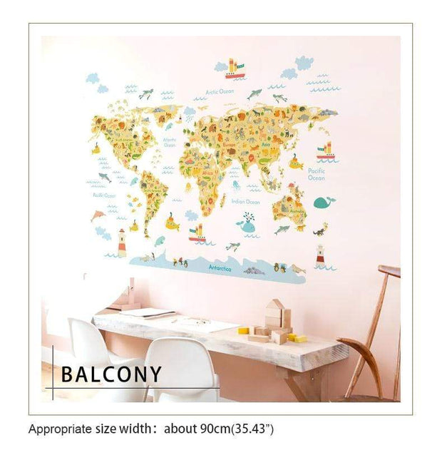 Colorful World Map Wall Sticker for Kids
