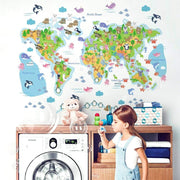 Colorful World Map Wall Sticker for Kids A